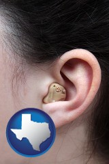 texas map icon and a woman wearing a hearing aid in her left ear