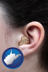 west-virginia a woman wearing a hearing aid in her left ear