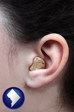 a woman wearing a hearing aid in her left ear - with Washington, DC icon