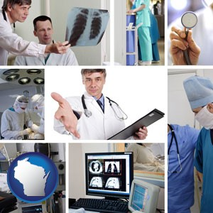 hospital equipment and supplies - with Wisconsin icon