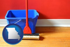 missouri a bucket and mop on a hardwood floor