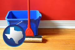 texas a bucket and mop on a hardwood floor