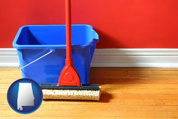 a bucket and mop on a hardwood floor - with Alabama icon