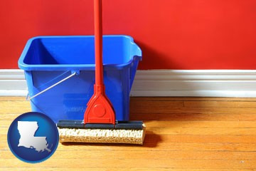 a bucket and mop on a hardwood floor - with Louisiana icon