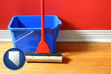 a bucket and mop on a hardwood floor - with Nevada icon