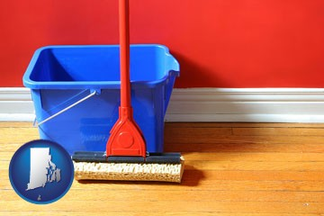 a bucket and mop on a hardwood floor - with Rhode Island icon
