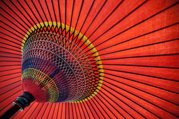 a red Japanese parasol