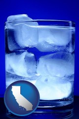 california a glass of ice water