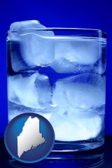 maine a glass of ice water