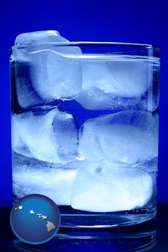 a glass of ice water - with Hawaii icon