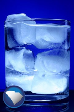 a glass of ice water - with South Carolina icon