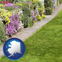 alaska map icon and a lawn and a garden