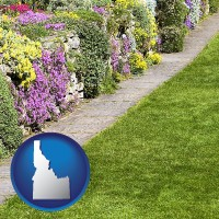 idaho map icon and a lawn and a garden