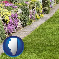 illinois map icon and a lawn and a garden