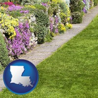 louisiana map icon and a lawn and a garden