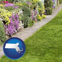 massachusetts map icon and a lawn and a garden