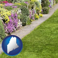 maine map icon and a lawn and a garden