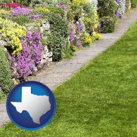 texas map icon and a lawn and a garden
