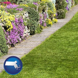 a lawn and a garden - with Massachusetts icon