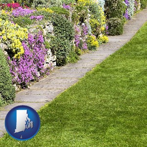a lawn and a garden - with Rhode Island icon