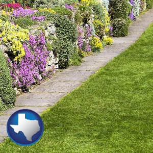a lawn and a garden - with Texas icon