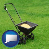 connecticut map icon and a lawn fertilizer spreader