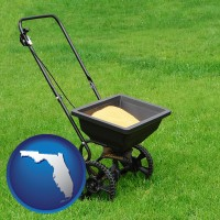 florida map icon and a lawn fertilizer spreader