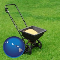 hawaii map icon and a lawn fertilizer spreader