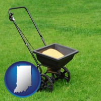 indiana map icon and a lawn fertilizer spreader