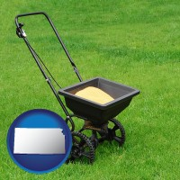 kansas map icon and a lawn fertilizer spreader