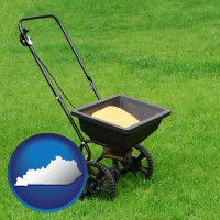 kentucky map icon and a lawn fertilizer spreader