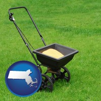 massachusetts map icon and a lawn fertilizer spreader
