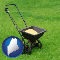 maine map icon and a lawn fertilizer spreader