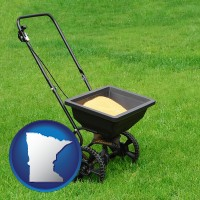 minnesota map icon and a lawn fertilizer spreader