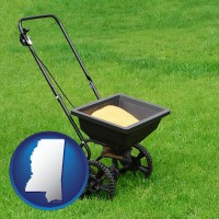 mississippi map icon and a lawn fertilizer spreader