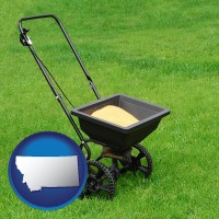 montana map icon and a lawn fertilizer spreader