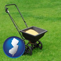 new-jersey map icon and a lawn fertilizer spreader