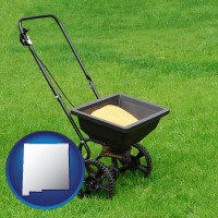 new-mexico map icon and a lawn fertilizer spreader