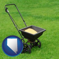 nevada map icon and a lawn fertilizer spreader