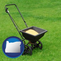 oregon map icon and a lawn fertilizer spreader