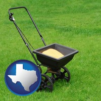 texas map icon and a lawn fertilizer spreader