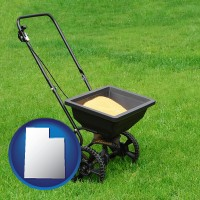 utah map icon and a lawn fertilizer spreader