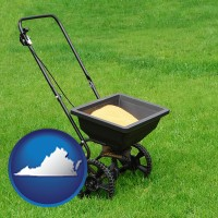 virginia map icon and a lawn fertilizer spreader