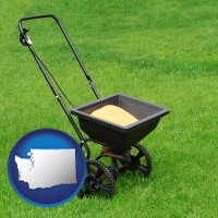 washington map icon and a lawn fertilizer spreader
