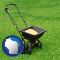 wisconsin map icon and a lawn fertilizer spreader