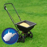 west-virginia map icon and a lawn fertilizer spreader