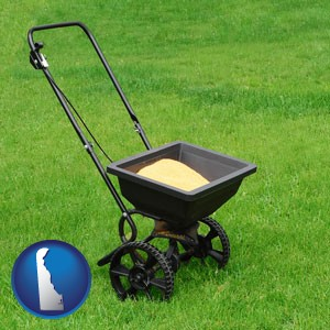 a lawn fertilizer spreader - with Delaware icon