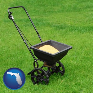 a lawn fertilizer spreader - with Florida icon