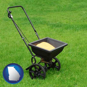 a lawn fertilizer spreader - with Georgia icon