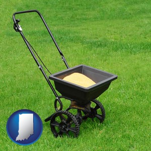 a lawn fertilizer spreader - with Indiana icon